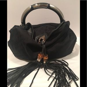 Gucci Indy LARGE Tassle Canvas Shoulder Bag-Black